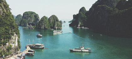 Panorama of Vietnam with boats
